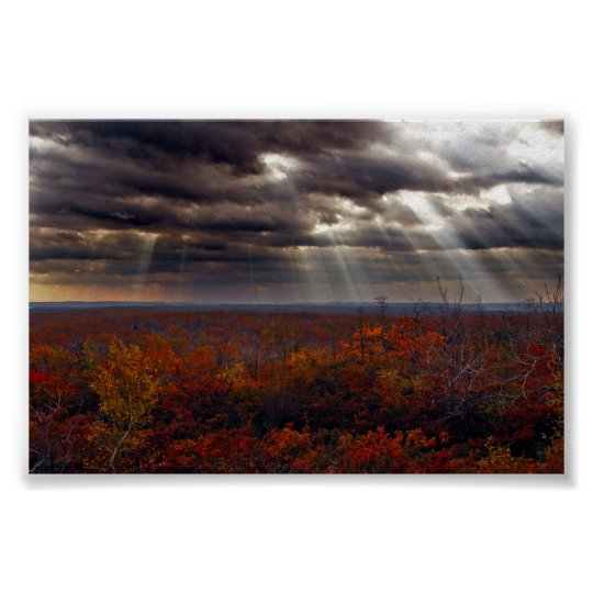 Light Beams In Clouds at Lackawanna State Forest Poster