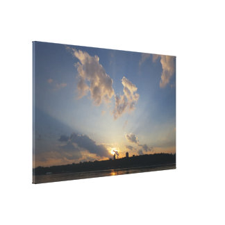 Light Beams Sunset Canvas Print