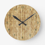 Light Beige Bamboo Round Clock at Zazzle