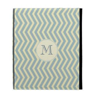 Light Beige Blue Chevron Pattern iPad Folio Covers