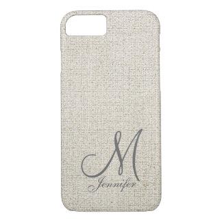 Light beige ecru Dark Grey Linen White Monogram iPhone 8/7 Case