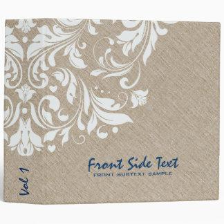Light Beige Linen Burlap White Floral Lace 3 Ring Binder