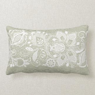 Light Beige Linen Vintage White Lace Pillows