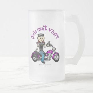 Light Biker Girl Frosted Glass Beer Mug