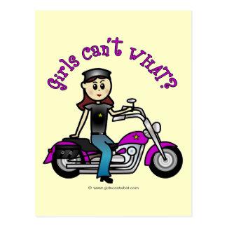Light Biker Girl Postcard