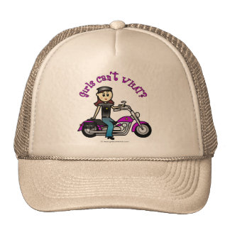 Light Biker Girl Trucker Hat