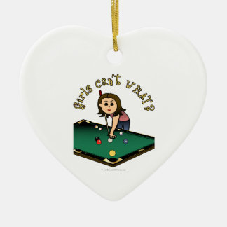 Light Billiards Girl Ceramic Ornament