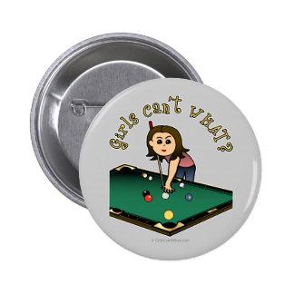 Light Billiards Girl Pinback Button