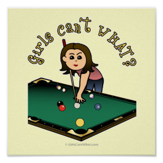 Light Billiards Girl Print