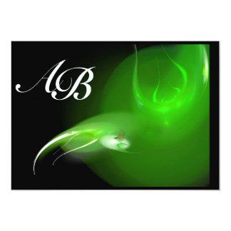 LIGHT BIRD IN GREEN MONOGRAM CARD