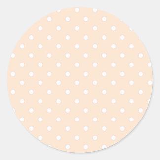Light Bisque Polka Dots Classic Round Sticker