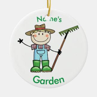 Light Blonde Boy Gardener in Overalls & Boots Ceramic Ornament