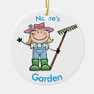Light Blonde Girl Gardener in Overalls & Boots Ceramic Ornament