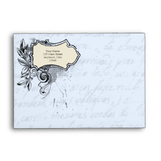 Light Blue A6 Vintage Script Envelopes