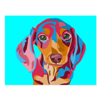 Light Blue Abstract Dachshund Postcard