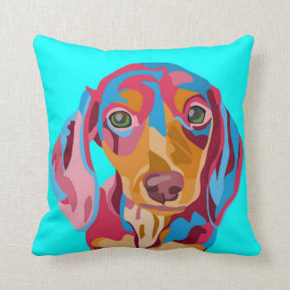 Light Blue Abstract Dachshund Throw Pillow