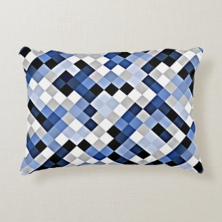 Light Blue Abstract Mosaic Pattern Accent Pillow