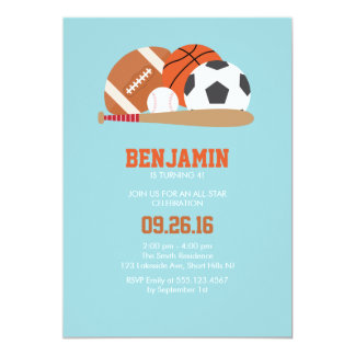 Light Blue All Star Sports Birthday Party Card