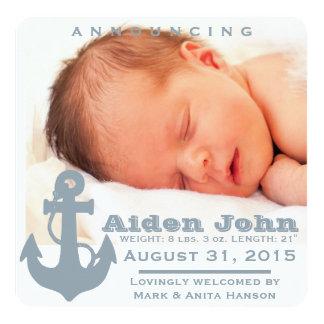 Light blue anchor baby announcement