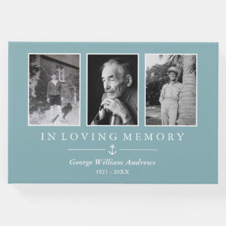 Light Blue Anchor In Loving Memory Photo Collage Guest Book