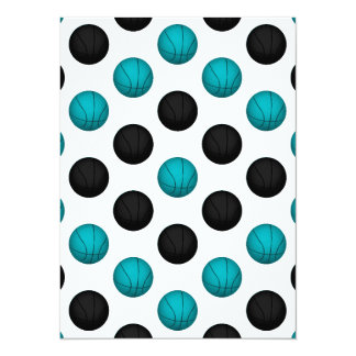 Light Blue and Black Basketball Pattern Card
