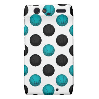 Light Blue and Black Basketball Pattern Motorola Droid RAZR Covers