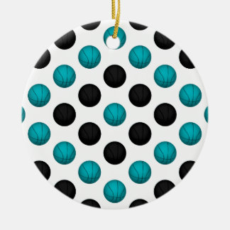 Light Blue and Black Basketball Pattern Ceramic Ornament