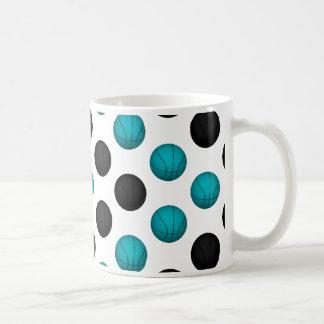 Light Blue and Black Basketball Pattern Coffee Mug