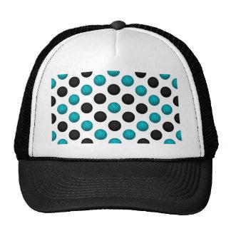 Light Blue and Black Basketball Pattern Trucker Hat