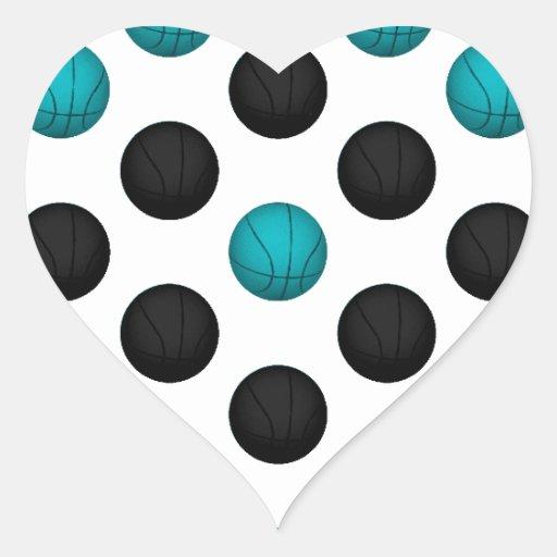 Light Blue and Black Basketball Pattern Heart Sticker