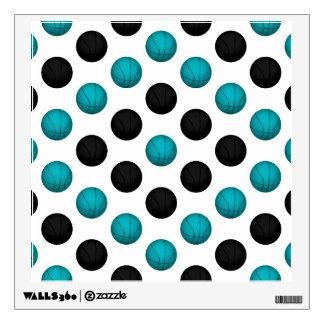 Light Blue and Black Basketball Pattern Wall Sticker