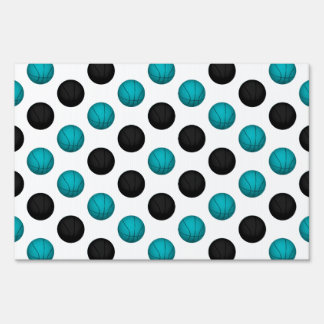 Light Blue and Black Basketball Pattern Lawn Sign