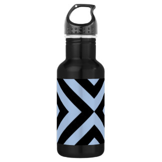 Light Blue and Black Chevrons 18oz Water Bottle