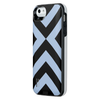 Light Blue and Black Chevrons Battery Case Uncommon Power Gallery™ iPhone 5 Battery Case