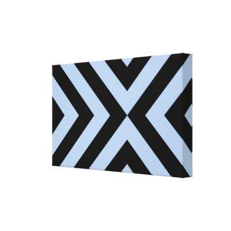 Light Blue and Black Chevrons Canvas Print