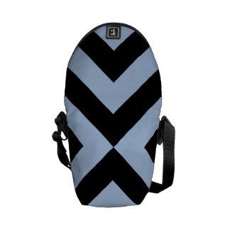 Light Blue and Black Chevrons Courier Bag