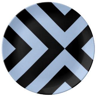 Light Blue And Black Chevrons Porcelain Plates