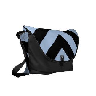 Light Blue and Black Chevrons Messenger Bags