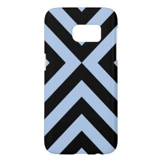Light Blue and Black Chevrons Samsung Galaxy S7 Case