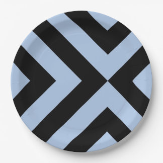 Light Blue And Black Chevrons 9 Inch Paper Plate