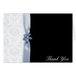 Light blue and black damask Thank you card