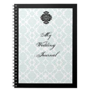 Light Blue and Black Damask Wedding Journal