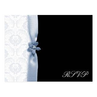Light blue and black damask wedding pack postcard