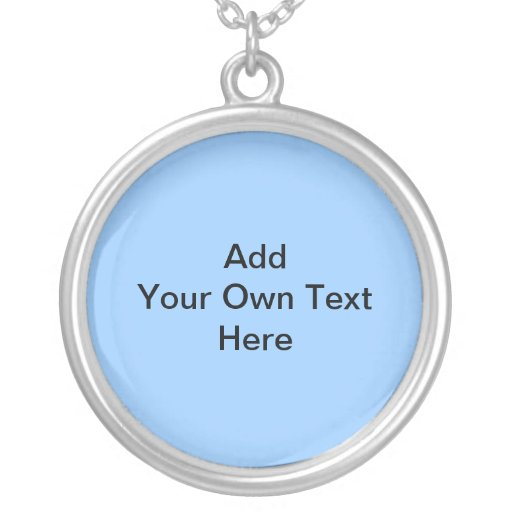 Light Blue and black design with custom text. Round Pendant Necklace