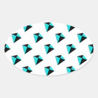 Light Blue and Black Diamond Kites Pattern Oval Sticker