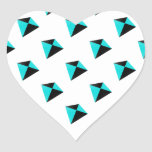 Light Blue and Black Diamond Kites Pattern Heart Sticker