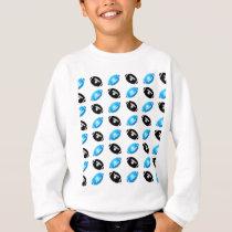 Light Blue and Black Football Pattern Sweatshirt