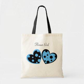 Light Blue And Black Hearts Bag