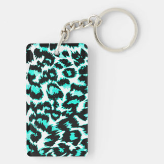 Light Blue and Black Leopard Print Double-Sided Rectangular Acrylic Keychain