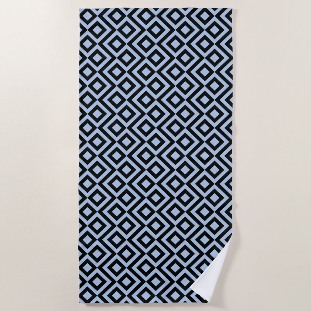 Light Blue and Black Meander Beach Towel